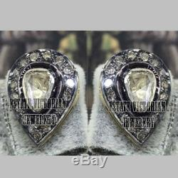 1.93Cts Genuine Rose Antique Cut Diamond Silver Victorian Studs Earring Jewelry