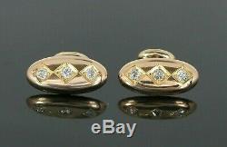 $2995 Mens Vintage Estate Victorian 14K Yellow Gold Old Miner Diamond Cufflinks