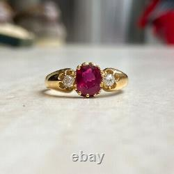2.10CT Oval Cut Red Ruby Three Stone Estate Victorian Engagement Ring For Women