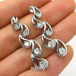 3.2Ct Diamond 14K White Gold Over Victorian Edwardian Incredible Estate Earrings