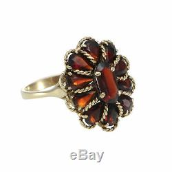 4.8CTW Pear Oval Garnet Ring 14k YG Cocktail Womens 1880s Antique Victorian