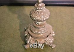 4 FEET TALL. Antique Victorian Pewter Candelabra Candle Holder ESTATE FIND. 1.1L