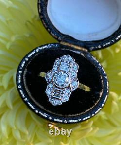 925 Sterling Silver Victorian Edwardian Elongated Estate Ring 1.5Ct VVS1 Diamond
