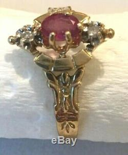 ANTIQUE ESTATE 14K GOLD NATURAL RED RUBY & DIAMOND RING VICTORIAN BAND Sz 7.5