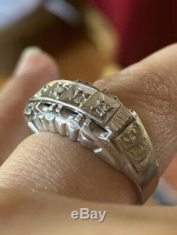 ANTIQUE ESTATE 14K GOLD WHITE RING VICTORIAN ART DECO WEDDING 4.7g