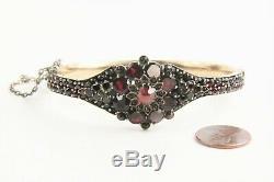 ANTIQUE ESTATE Jewelry VICTORIAN BOHEMIAN ROSE CUT GARNET BANGLE BRACELET