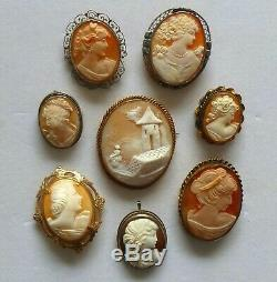 ANTIQUE ESTATE VICTORIAN CAMEO JEWELRY LOT PENDANT/PIN 12K Gold Filled 3-Silver