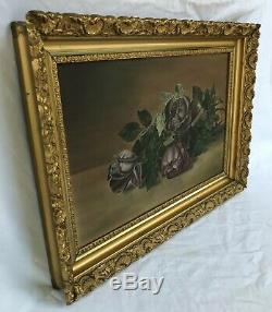ANTIQUE VICTORIAN PINK ROSES STILL LIFE OIL PAINTING o/b ESTATE GOLD GESSO FRAME