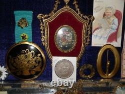 ANTIQUE VICTORIAN VTG DRAWER LOT JEWELRY 925 GF CAMEOS DORSEt 1890 SILVER DOLLAR