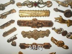 ANTIQUE VINTAGE VICTORIAN GOLD FILLED ORNATE BAR PIN BROOCH ESTATE WEAR LOT 17pc