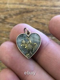 ANTIQUE Victorian Era California GOLD & GOLD IN QUARTZ Heart Pendant VERY CUTE