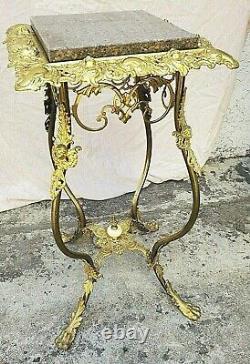 Angel / Cherub Victorian Gilt Brass & Iron Plant Fern Stand Table Pedestal 1894