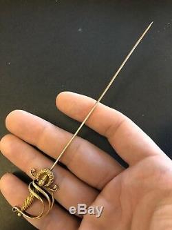 Antique 10-14k Gold SWORD Hat or Hair Pin VICTORIAN ERA Stunning ESTATE FIND