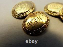 Antique 10k Gold Chain Cufflinks Engraved Victorian Art Deco Ornate Estate Vtg