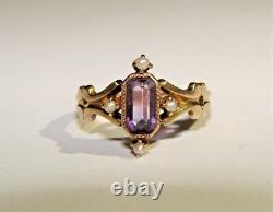Antique 10k Solid Yellow Gold Estate White Wile Warner Victorian Amethyst Pearl