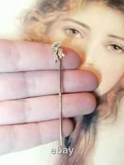 Antique 14K Seed Pearl Ribbon Stick Pin Tie Lapel Victorian Estate Jewelry
