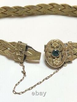 Antique 14k Gold Filled braided mesh chain floral estate bracelet