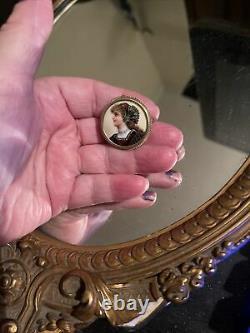 Antique 14k vintage victorian enamel cameo portrait pin fabulous estate piece