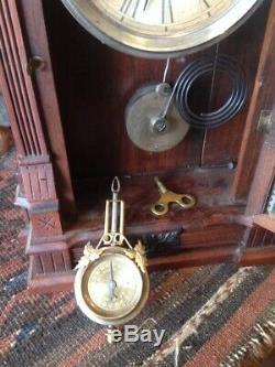 Antique 1885 Gilbert Kitchen Clock Dacca Victorian Runs All Original Estate Find