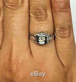 Antique 18k WG Estate Victorian Filigree Engagement Natural Yellow Diamond Ring