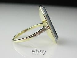 Antique Banded Agate Ring 14K Two-Tone Estate Vintage Victorian Period