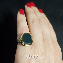 Antique Bloodstone 14k Yellow Gold Filigree Ring Victorian Estate Jewelry Gift