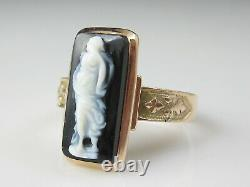 Antique Cameo Ring 14K Rose Gold Victorian Period Agate Vintage Estate Jewelry