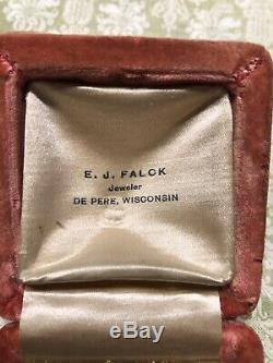 Antique Collectible Victorian Pink Velvet Ring Presentation Gift Box-Estate