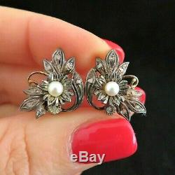 Antique Diamond Pearl 19k Yellow Gold Silver Earrings Estate Victorian Floral