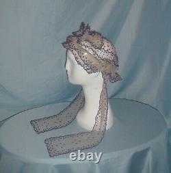 Antique Dress Day Cap Victorian 1860's White Net lace Purple Embroidery Estate
