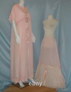 Antique Dress Robe and Petticoat Victorian Pink Silk N. C. Estate Provenance