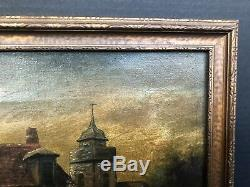 Antique EUROPEAN CASTLE ESTATE Old VICTORIAN LADY Dog Pond Family PAINTING