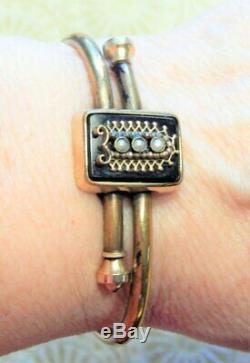 Antique Edwardian Victorian Jet Glass Seed Pearl Cuff Estate Bracelet Dated 1879