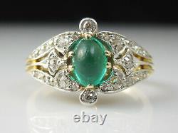 Antique Emerald Diamond Ring 18K Victorian Period Vintage Estate Two-Tone