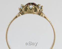 Antique Estate 10K Gold. 40ct Genuine Diamond & Garnet Victorian Ring 1.5g