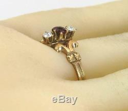 Antique Estate 10K Rose Gold. 25ct Genuine Diamond & Ruby Victorian Ring