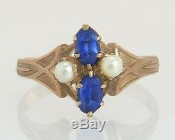 Antique Estate 10K Yellow Gold. 50ct Sapphire & Pearl Victorian Ring