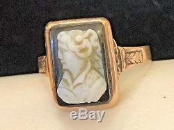 Antique Estate 10k Gold Black & White Onyx Cameo Victorian Edwardian