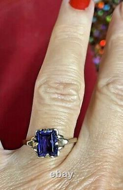 Antique Estate 10k Gold Blue Sapphire Ring Engagement Wedding Victorian