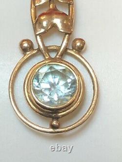 Antique Estate 10k Gold Blue Topaz Pendant Lavaliere Victorian Signed Bb