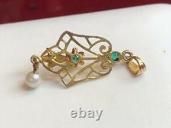 Antique Estate 10k Gold Diamond Pendant Lavaliere Victorian Pearl