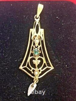 Antique Estate 10k Gold Emerald Pendant Lavaliere Victorian Pearl
