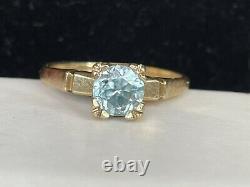 Antique Estate 10k Gold Natural Blue Topaz Ring Gemstone Victorian