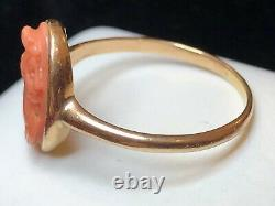 Antique Estate 10k Gold Natural Coral Ring Hand Carved Victorian Solman Cameo