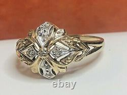 Antique Estate 10k White & Yellow Gold Diamond Signed Q J Victorian Ring