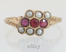 Antique Estate 14K Gold. 30ct Garnet & Seed Pearl Victorian Ring 1.5g