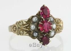 Antique Estate 14K Gold. 60ct Garnet & Seed Pearl Victorian Ring