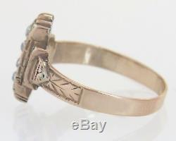 Antique Estate 14K Rose Gold. 08ct Foil Back Diamond Cut Gemstone Victorian Ring
