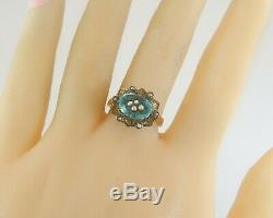 Antique Estate 14K Yellow Gold 1.75ct Blue Tourmaline Seed Pearl Victorian Ring