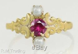Antique Estate 14K Yellow Gold. 25ct Ruby & Seed Pearl Victorian Ring
